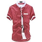 Camisa De los hombres Estampado Casual-Mezcla de Algodón-Manga Corta-Negro / Azul / Naranja / Rojo