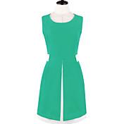 MFL女性のスリミングソリッドカラーSleevlessのドレス(画面の色)