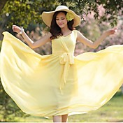 De las mujeres Corte Swing Vestido Casual Un Color Midi Escote Redondo Raso
