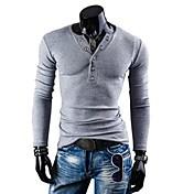 男性用 プレイン カジュアル Tシャツ,長袖 コットン混,ブラック / ブルー / グレー