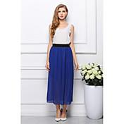 Mujer Bonito Línea A Faldas - Plisado, Un Color