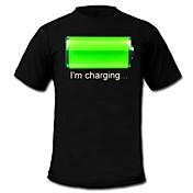 LED Tシャツ 音声制御LEDライト コットン ノベルティ柄 2×単四電池