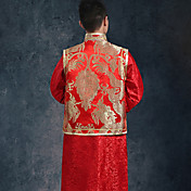 Vaina / columna de cuello alto vestido de novia de longitud del piso con el botón