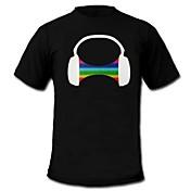 Camisetas LED  Luces LED Activadas Por Sonido Algodón Innovador 2 Baterías AAA
