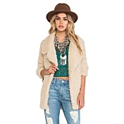 Women's Wide Notch Lapel Long Sleeve Cream Fashion Casual Slim Biker Faux Curly Fur Coat