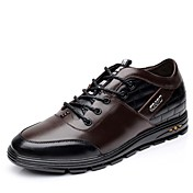 男性用 靴 レザー 春 秋 コンフォートシューズ オックスフォードシューズ 編み上げ のために カジュアル オフィス&キャリア ブラック ブラウン