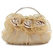 女性 バッグ シルク イブニングバッグ フラワー のために 結婚式 パープル レッド バーガンディー ライトブラウン クリスタル