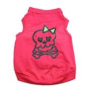 Gato Perro Camiseta Ropa para Perro Transpirable Cráneos Corazones Rosa Disfraz Para mascotas