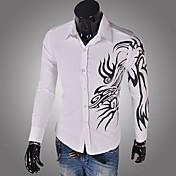 男性用 プリント カジュアル シャツ,長袖 コットン ブラック / ブルー / レッド / ホワイト