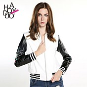 haoduoyi® Women's Sleeve Embroidery Rose Printed Baseball Style Zipper PU Leather Jacket