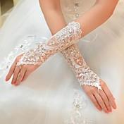 guantes nupciales del guante de la longitud del codo de Tulle con estilo elegante del diamante artificial