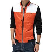 男性用 プレイン カジュアル ジャケット,長袖,コットン,ブルー / オレンジ