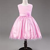 - ライン茶の長さの花嫁の女の子のドレス - 華やかなファッションのサテンのノースリーブのスクープの首
