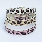 Gato Perro Cuello Ajustable / Retractable Cuero de PU Blanco Rosa Dorado
