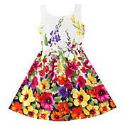 Menina de Vestido Floral Algodão Orgânico Verão / Primavera Vermelho