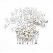 Mujer Niña de flor Cristal Aleación Perla Artificial Celada-Boda Ocasión especial Peinetas Flores