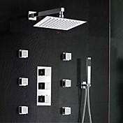 コンテンポラリー 壁式 サーモスタットタイプ 真鍮バルブ 三つ 3つのハンドル三穴 クロム , シャワー水栓