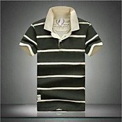 MEN - ポロシャツ ( ブルー/グリーン , コットン ) - カジュアル - 縞模様 - 半袖