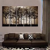 電子home®は5の木の装飾塗装セットの影の下で夜のキャンバスアートを伸ばし