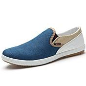 Hombre Zapatos Tela Primavera Verano Confort Zapatos de taco bajo y Slip-On Para Casual Azul Beige Verde