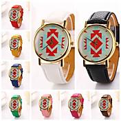pu vestido de soporte de dama marca de lujo del cuero del diamante mujeres formas geométricas reloj de pulsera (colores surtidos)