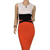 WOMEN - セクシー/カジュアル/パーティー - ドレス ( コットン ラウンド - ノースリーブ