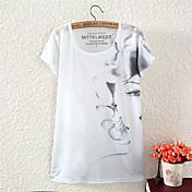 De las mujeres Simple Casual/Diario Verano Camiseta,Escote Redondo Estampado Manga Corta Algodón / Poliéster Multicolor Medio