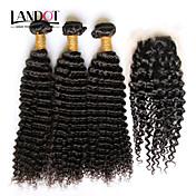 Trama del pelo con cierre Cabello Mongol Ondulado Grande 3 Piezas los tejidos de pelo