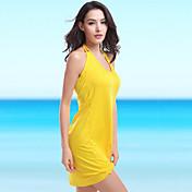 女性 ワイヤレス パッドなしブラジャー ホルター ポリエステル カバーアップ ソリッド バンデージ 純色