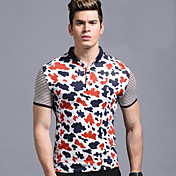 男性用 半袖 ポロシャツ , コットン カジュアル プリント/ストライプ