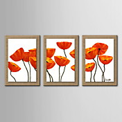 3のセット - 抽象花の手が延伸枠で自然なリネンを描いた油絵の装飾