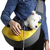 ネコ 犬 キャリーバッグ ストラップ付きポーチ ペット用 バスケット ソリッド 携帯用 高通気性 イエロー ローズ グリーン ブルー ピンク