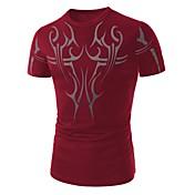 Camiseta De los hombres Estampado-Casual-Algodón-Manga Corta-Negro / Azul / Rojo / Blanco
