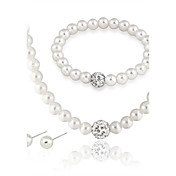 Mujer Juego de Joyas Collar con perlas Pendientes / pulsera Perla Legierung Redondo Euramerican Moda Boda Fiesta Ocasión especial