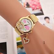 Mujer Reloj de Moda Reloj Pulsera Cuarzo Aleación Banda Flor Dorado