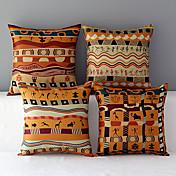4フォークスタイルのアフリカのパターンの綿のスローピローの家のソファのチェアシートバックレストクッションのセット