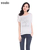 De las mujeres Simple Casual/Diario Verano Camiseta,Escote Redondo Estampado Manga Corta Algodón Azul / Rojo / Blanco / Gris / Amarillo
