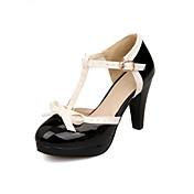 Mujer Zapatos Semicuero Primavera / Verano Confort Tacón Cono Hebilla / Combinación Negro / Rojo / Rosa / Vestido