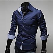 男性用 プラスサイズ シャツ, ビジネス レギュラーカラー スリム ソリッド コットン