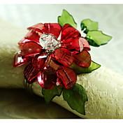12 unids / set 1.77 pulgadas acrílico flor servilleta anillo vajilla mesa de almacenamiento