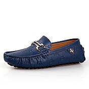 Hombre Zapatos Cuero Primavera Verano Otoño Invierno Confort Zapatos de taco bajo y Slip-On Para Casual Blanco Negro Azul