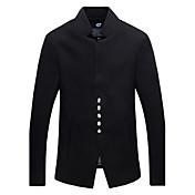 男性用 プレイン カジュアル / オフィス / フォーマル ジャケット,長袖,ツイード,ブラック / ブルー / レッド