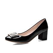 Mujer Zapatos Cuero Patentado Verano Otoño Tacón Cuadrado Talón de bloque Para Casual Negro Beige Azul Rosa