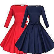 WOMEN - セクシー - ドレス ( コットン / ポリエステル ラウンド - 3/4スリーブ