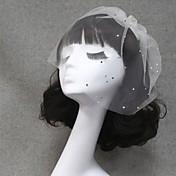1段 カットエッジ ウェディングベール ヘッドドレス・ベール 短髪用ベール とともに ラインストーン チュール