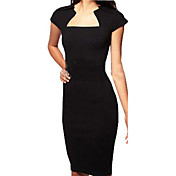 Mujer Corte Bodycon Vestido Trabajo Sensual,Un Color Escote Cuadrado Hasta la Rodilla Manga Corta Otoño Tiro Medio Rígido Medio