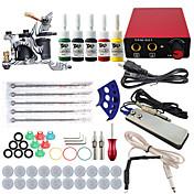 スタータータトゥーキット 1 xライニングとシェーディング用鋳鉄入れ墨機械 タトゥーマシン ミニ電源 4 × 5ml タトゥーインク 1×アルミニウムグリップ