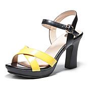 Mujer Zapatos Semicuero Verano Tacón Cuadrado para Casual Amarillo