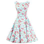 Mujer Vintage Algodón Línea A Vestido Floral Hasta la Rodilla / Patrones florales
