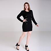 婦人向け Vネック ボタン / ジッパー ドレス , コットン混 膝上 長袖
